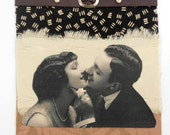 Romance Photo Fabric Collage Set of 5 Blank Greeting Cards