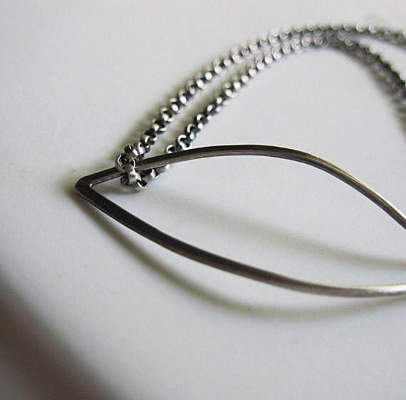 Single Leaf Bracelet...sterling silver wrap bracelet with forged leaf