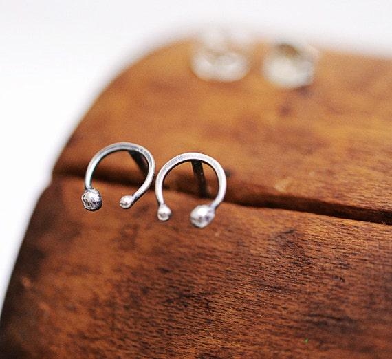 Tiny horseshoe post earrings, sterling silver