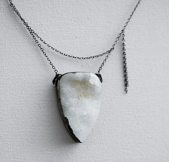 the space between...white drusy necklace in oxidized sterling silver