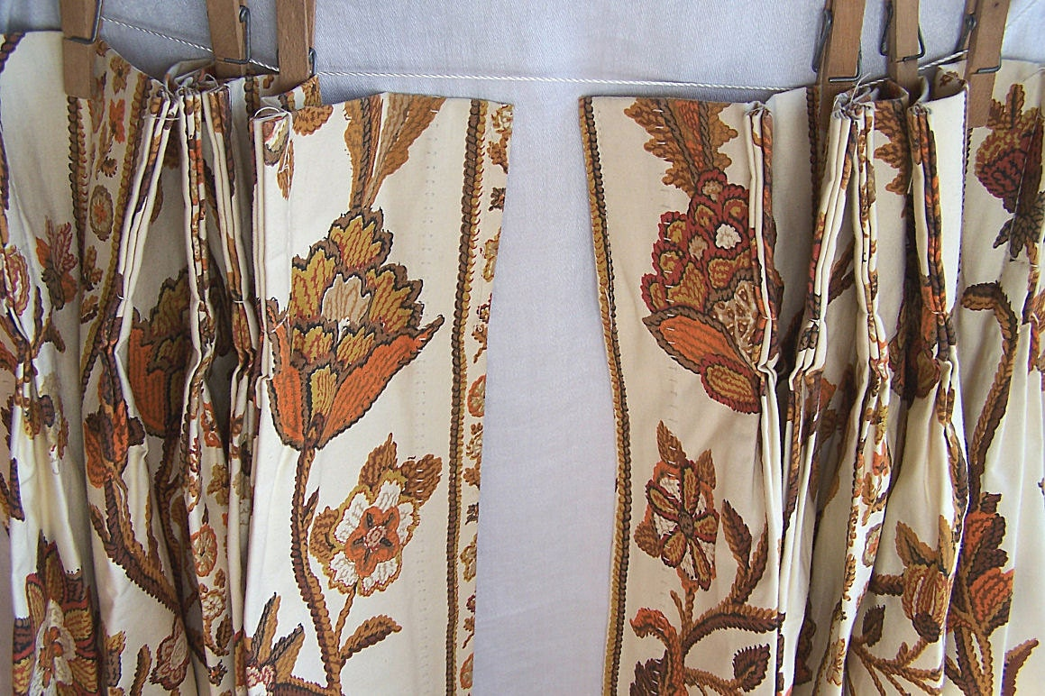 Vintage Pinch Pleat Curtains Orange Gold Brown Floral By Endlessc