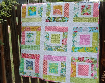 New Lower Price - Lulu's Quilt PDF PaTTeRN - Easy Baby Quilt - Scraps Jelly Roll Charm Squares - PDF - Instant Download
