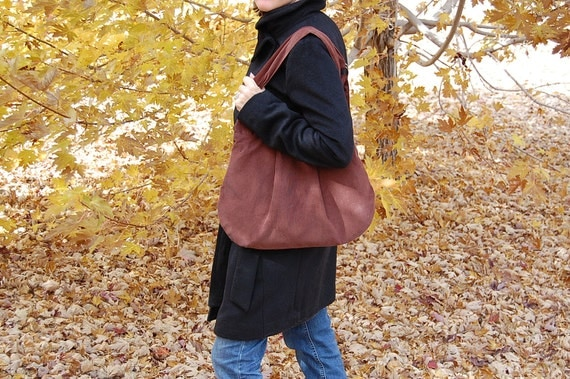 CLEARANCE - Large Olivia Bag  - Fall purse handbag satchel tote Hobo Bag - Soft Brown Corduroy - Amy Butler lining - Ready to SHIP