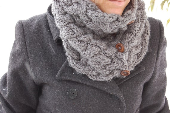 SALE - Hand Knit Nora convertible COWL - Heather Grey Gray - READY to ship