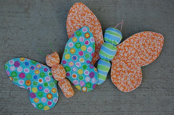 Set of 2 soft fabric Butterfly toys - Ready to SHIP