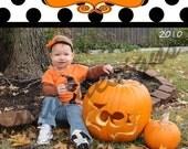 Polka Dot Halloween Photo Card - Digital Design Only