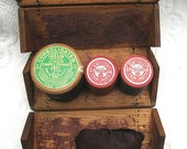 Antique Oak Sewing Box Wooden Spools