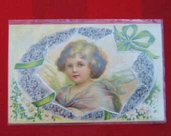 2 Antique Easter Post Card Violet Angel