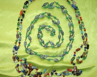 Antique Carnival Beads Hand Made Glass