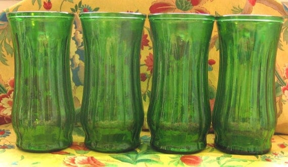 5 Green Glass Vases SALE