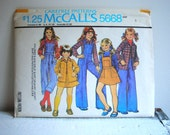 Vintage McCalls Childrens Sewing Pattern 5668 Size 6  1970s Carefree Girls Shirt ...shirt jacket...skirt...pants...overall