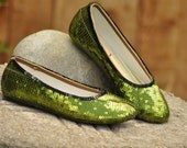 Size 10 Olive Green Ballet Slippers