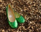 Size 10 Kelly Green Ballet Slippers