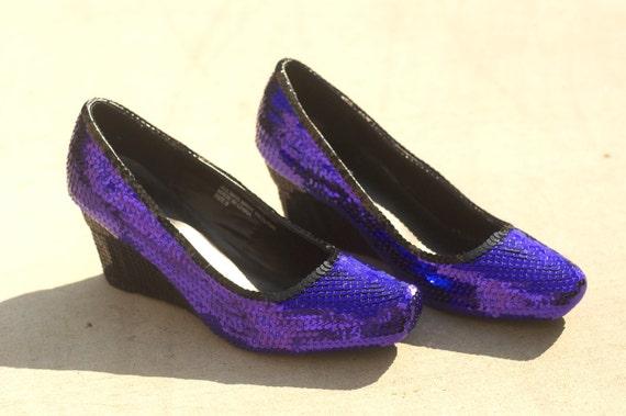 Size 9 Purple/Plum and Black Sequin Wedge Heels