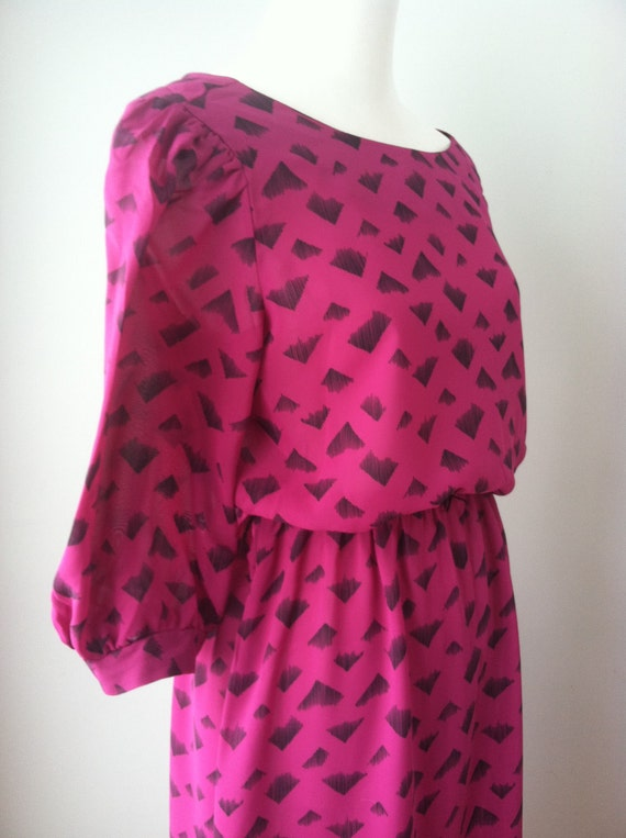 Vintage 80s Fuchsia Geometric Patterned Dress