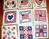 FABRIC  24  PRE CUT    PATRIOTIC   COUNTRY   THEME    SQUARES    6 INCHES
