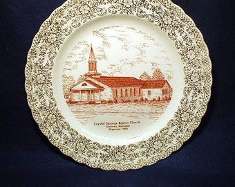 Vintage  1954 Crystal  Springs Baptist Church TYLERTOWN, MISS. Plate