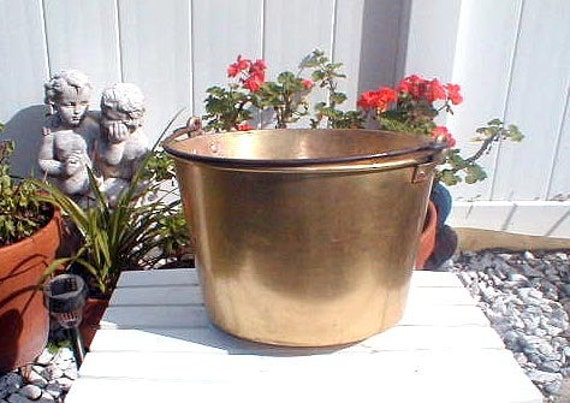 Antique Swing Handle Brass Bucket with Copper Rivets Waterbury Conn.