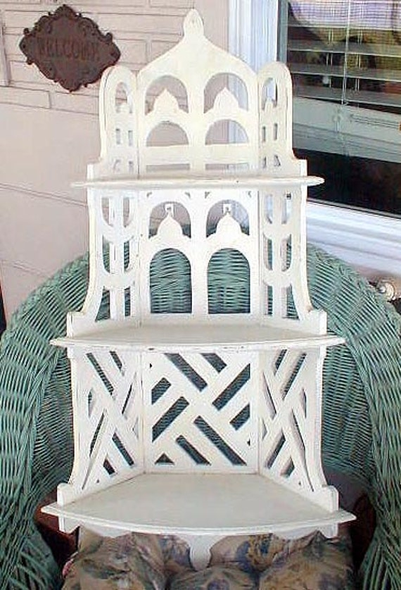 Victorian Curio Shelf  Painted White Shabby Chic Style