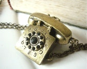 Reserved for Adderly ---Anitque Brass Retro Telephone Necklace with gift box