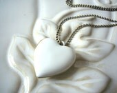 White Heart Locket Necklace