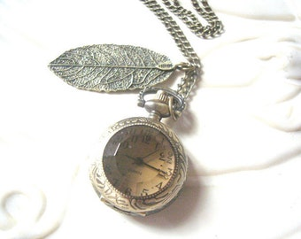 Antique Glass Pocketwatch Necklace