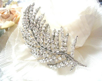 Feather Brooch-Antique Sliver with Crystal