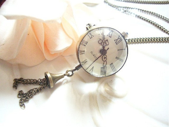 Glass Ball Pocket  Watch Necklace