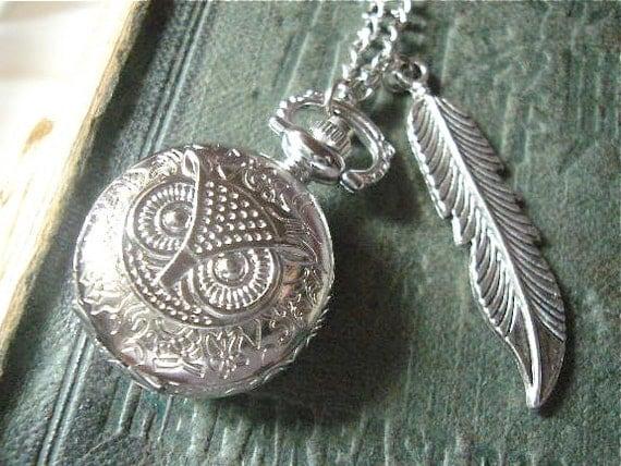 Sliver Owl Pocket Watch Necklace