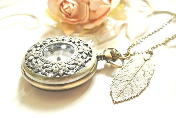 Foral Pocket Watch Charm Necklace
