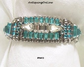 Vintage KRAMER OF N.Y. Aqua and Clear Rhinestone Bracelet