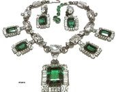 RESERVED Larry Vrba Runway Necklace Earrings Set Vintage Emerald Diamond Statement Jewelry Holiday Jewels Gift for Her