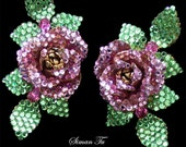 Siman Tu Vintage Rhinestone Earrings 1990s Clip On Rose Crystal Earrings