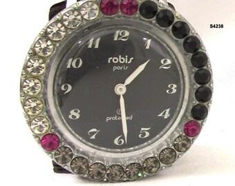 Vintage Wrist Watch Robis Paris 1970s Rhinestone Wristwatch