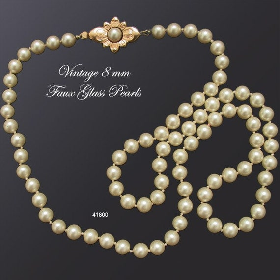 8mm Glass Pearl Necklace Vintage Wedding Jewelry 1950s