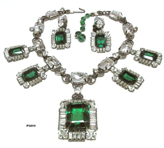 Larry Vrba Runway Necklace Earrings Set Vintage Emerald Diamond Statement Jewelry