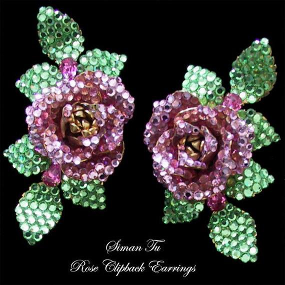 Siman Tu Vintage Rhinestone Earrings 1990s Clip On Rose Crystal Earrings