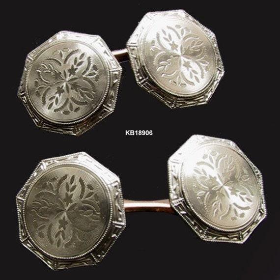 Krementz Button Cuff Links Art Deco Antique Jewelry