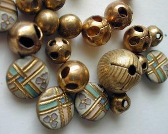 24 vintage tiny brass buttons