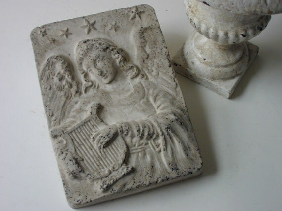 hold for gina - cement angel with harp tile