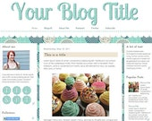 Premade Theme for Blogger // Plaid Picnic: 3 column template, floral, teal, flowers, scalloped