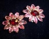 Vintage Weiss Pink & Red Glass Rhinestone Earrings