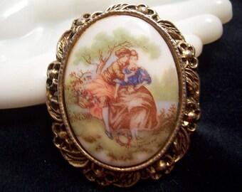 Vintage Fragonard Lover's Porcelain Cabochon Cameo Flower Brooch Pin 41 gms