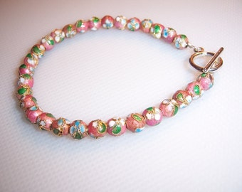 Vintage Cloisonne Enamel Flower Beads Toggle Bracelet