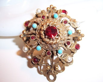 Vintage Faux Pearl, Rhinestone & Beaded Brooch Pin
