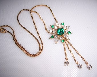 Vintage Dangling Rhinestone Brooch & Pendant Necklace