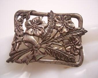 Vintage Silver Flower Bouquet Brooch Pin