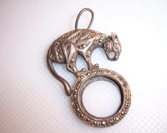 Antique Sterling Silver, Marcasite & Rhinestone Eye Panther on Ball Pendant