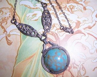 Antique Vintage Sterling Silver Marbled Blue Cabochon Drop Pendant Necklace Signed