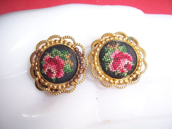 Vintage Petit Point Rose Earrings